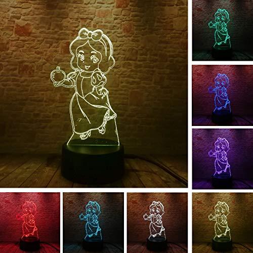 Mode da Prinzessin Schneewittchen l Mädchen 3D LED Nachtlicht USB Tischlampe Kinder Geburtstag Geschenk Nachtdekoration am Bett