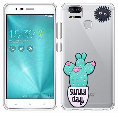 Sunrive Für Asus ZenFone Zoom S ZE553KL Hülle Silikon, Transparent Handyhülle Schutzhülle Etui 3D Hülle für Asus ZenFone Zoom S ZE553KL(Blauer Kaktus)+Gratis Universal Eingabestift MEHRWEG