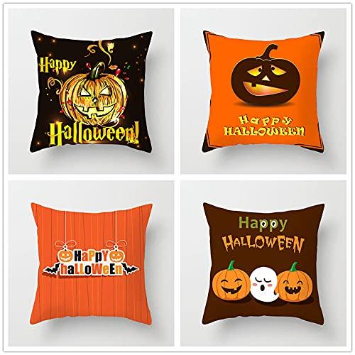 BFKJQ Dekorativa fyrkantiga kuddöverdrag 40 x 40 cm, set med 4 mode modern enkelhet halloween pumpa skräck mönster orange örngott med osynlig dragkedja för vardagsrum, sovrum, bil, soffdekoration