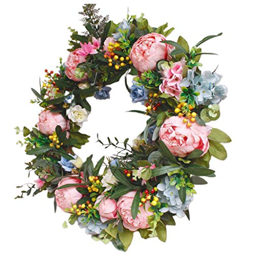FLAMEER Artificial Peony Flower Wreath with Green Leaves Berries Floral Garland Vine Rattan Ring for Front Door, Wedding, Wall, Window, Home Decor - Handmade
