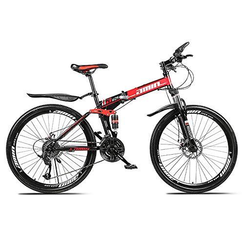 ZPEE Velocidad Variable Camino Bicicletas MTB De Suspensión,Neumático De Grasa Frenos De Doble Disco,Acero Al Carbono Bicicletas Todoterreno para Adultos Estudiantes