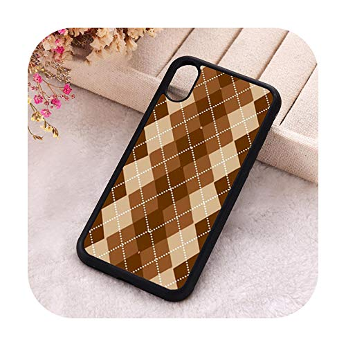 Phone Cover Schutzhülle für iPhone 6 6S 7 8 Plus X Xs XR 11 12 Mini Pro Max 5 5S SE 2020 Gummi Silikon Braun Argyle-For iPhone 6 Plus