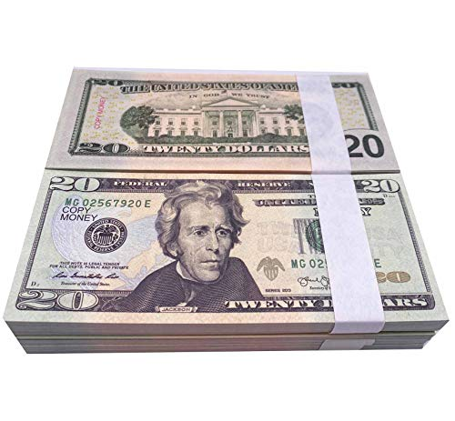 Muvopct Movie Prop Money Full Print 2 Sided,100 pcs 20 Dollar Bills Stack,Copy Money for Movies,Videos,Teaching and Birthday Party