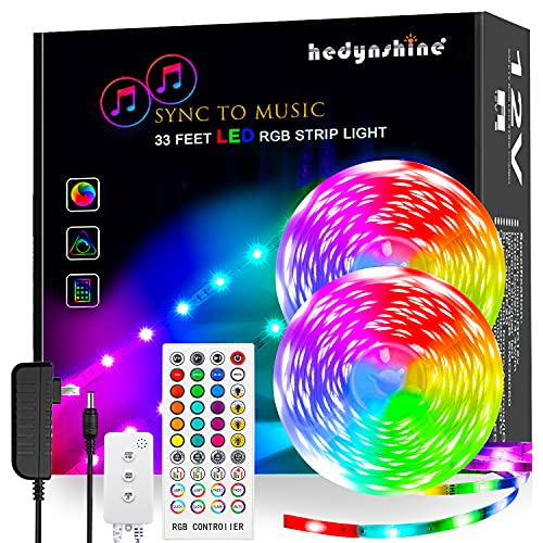 LED Strip Lights Music, Hedynshine 32.8 feet 300pcs chip Superbright Strip Lights with 40Key Remote,Sync to Music Led Strip Lights for Bedroom(MIC+Remote+Music Sync+3 Button Switch)