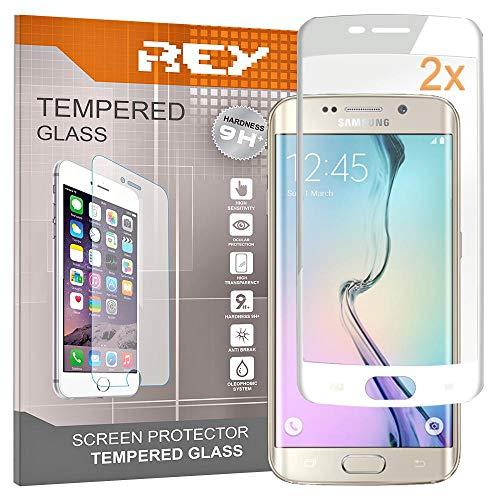 REY Pack 2X Pellicola salvaschermo 3D per Samsung Galaxy S6 Edge, Bianco, Copertura Completa, Pellicola Protettiva Protezione Schermo, 3D / 4D / 5D