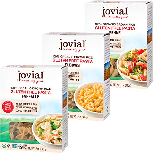 Jovial Farfalle Pasta | Jovial Elbows Pasta | Jovial Penne Rigate Pasta | Whole Grain Brown Rice Pasta | Gluten-Free | Non-GMO | Lower Carb | USDA Certified Organic | Made in Italy | 12 oz Each (3-pack)