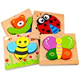 SKYFIELD Wooden Animal Puzzles for Toddlers 1 2 3 Years Old, Boys & Girls Educational Toys Gift with...