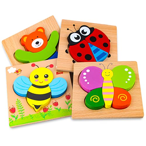 SKYFIELD Wooden Animal Puzzles for Toddlers 1 2 3 Years Old, Boys & Girls Educational Toys Gift with 4 Animal Patterns, Bright Vibrant Color Shapes, Customize Gift Box Ready