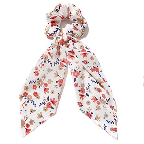 JJZXD Chiffon Silk Wispy Floral Bow Hair Scrunchies Women Hair Tie Rope Rubber Bands Ponytail Holder Hair Accessories (Color : A)
