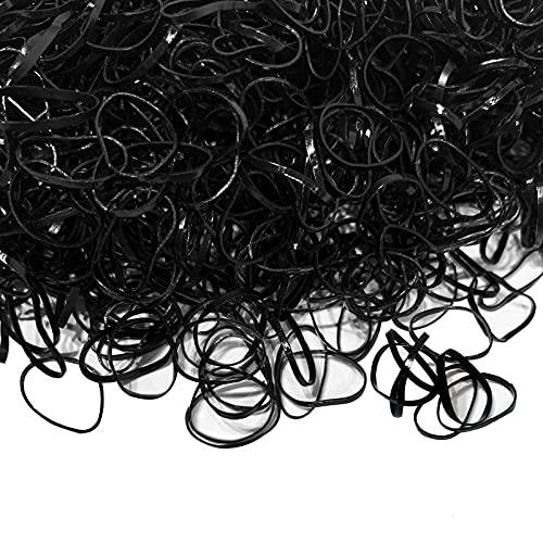 Yanrong Mini Elastics Hair Bands Small Hair Ties No Damage Girls Rubber Bands Baby Black Mini Rubber Bands ((2000PCS)