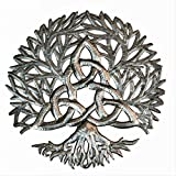 Celtic Knot Symbol, Tree of life Wall Hanging Art, Authentic Upcycled Artwork from Haiti, Handmade from Recycled Barrels, 13.75 Inches Round