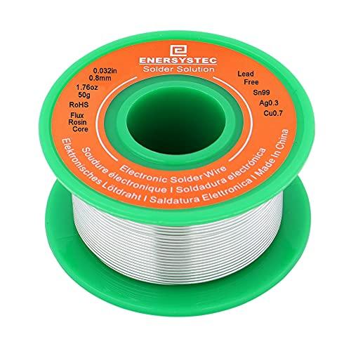 Solder Wire Lead Free Rosin Core Flux 0.8mm Electric Solder Fine Sn99 Ag0.3 Cu0.7 Flow 0.032in 0.11lb for Electronics Soldering Unlead 50g