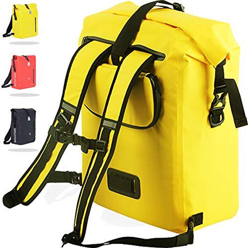 Rothar - Borsa per borse bici - Zaino - Borsa per bici - La borsa da viaggio ideale per ciclisti - Cinghie e ganci nascondibili e tessuto in PVC completamente impermeabile - 18/25L - Nero/Rosso/Giallo
