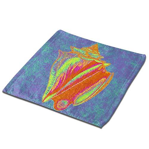 GCDT Toalla cuadrada 3d colorida King Conch Shell Ultra suave y altamente absorbente Toallas de mano Paos para el hogar, hotel, spa, cocina, 33 x 33 pulgadas