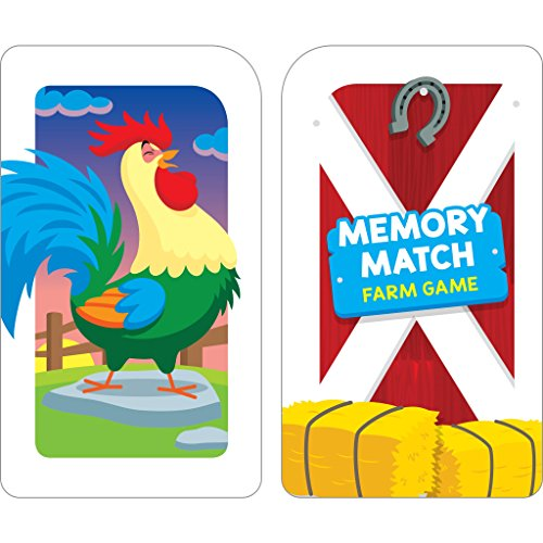 51eTDHSoiSL - School Zone - Memory Match Farm Card Game - Ages 3+, Preschool to Kindergarten, Animals, Early Reading, Counting, Matching, Vocabulary, and More (School Zone Game Card Series)