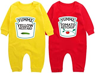 YSCULBUTOL Yummz Tomato Ketchup Yellow Mustard Red and Yellow Bodysuit Baby Boy Twins Baby Clothes Twins Baby Boys Girls