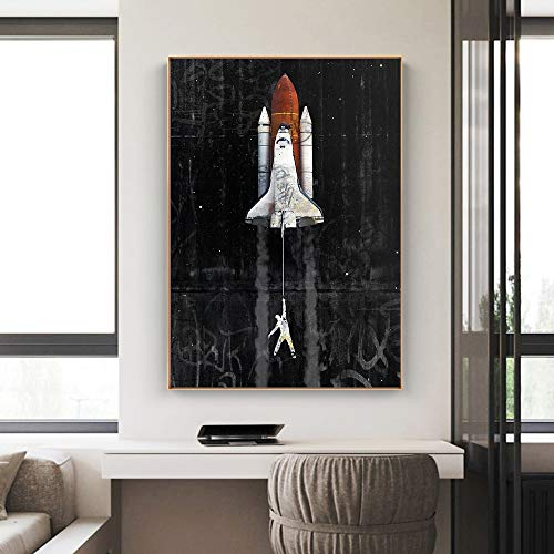 wZUN Graffiti art astronaut space dream spaceship canvas painting living room poster home decoration 60X90 Frameless