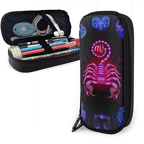 Skorpion Neon Horoscoop cirkel schattige pen etui leer tas etui etui etui met dubbele ritssluiting houder box voor meisjes jongens volwassenen
