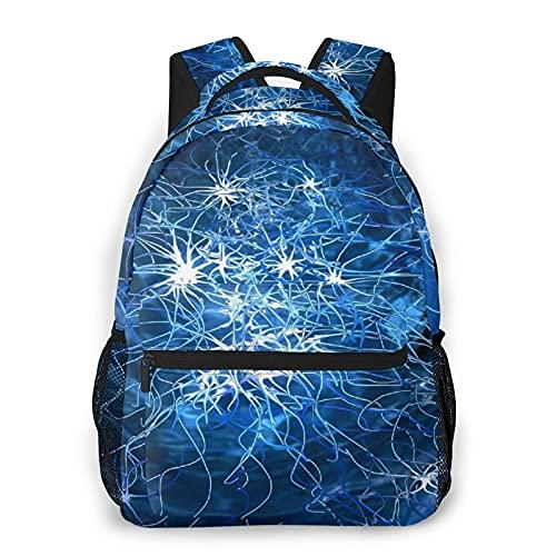 AMIGGOO Mochila informal ,Conexión compleja de Blue Brain Lines, Mochila de viaje con cremallera , Para negocios, escuela, trabajo, portátil Mochila 16 'X11.5 X8