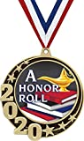 """HONOR ROLL MEDALS: Our Honor Roll Medal Awards Are 2 3/4"""" Big. FREE NECK RIBBON: Each Honor Roll Medal Comes Attached With A Free Red, White And Blue Neck Ribbon! HONOR ROLL AWARD: These Gold Medals Are Perfect For Kids Honor Roll Medals, A Honor Rol..."""