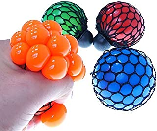 Anti Stress Mesh Squishy Ball Toy Grape Stress Relief Squeezing Ball For Children and Adults Random Color(6 cm)