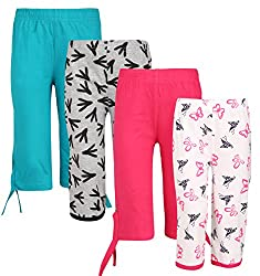 Sini Mini Girls Cotton Colourful Capri (Multicolour, 10-11 Years) - Pack of 4