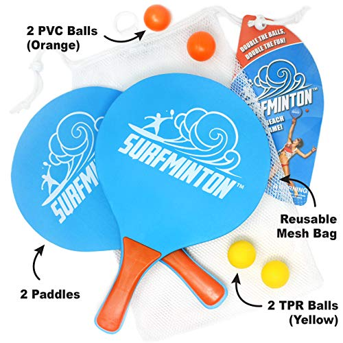 VIAHART Surfminton Classic Blue and Orange Beach Tennis Wooden Paddle Game Set (4 Balls, 2 Thick Water Resistant Wooden Rackets, 1 Reusable Mesh Bag) | New and Improved Fall 2019!