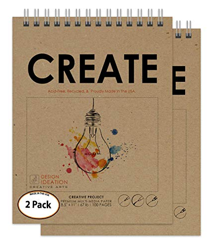 Design Ideation Multi-Media : Premium Paper Creative Project Book for Pencil, Ink, Marker, Charcoal and Watercolor Paints. Great for Art, Design and Education. (8.5' x 11') (2)