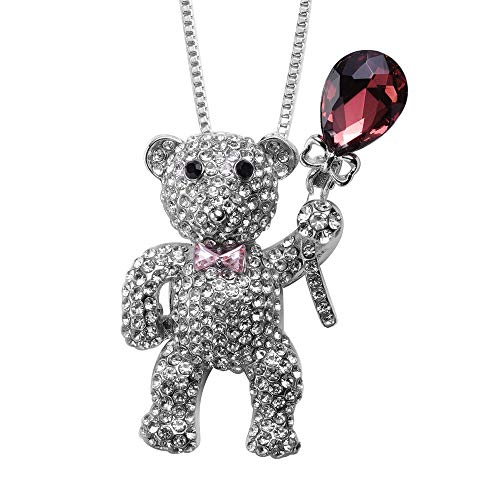 TJC Teddy Bear Pendant Necklace with Chain for Women Size 32 Inches Cute Animal Jewellery Simulated Rhodolite Garnet, Simulated Pink Sapphire and Simulated Crystal