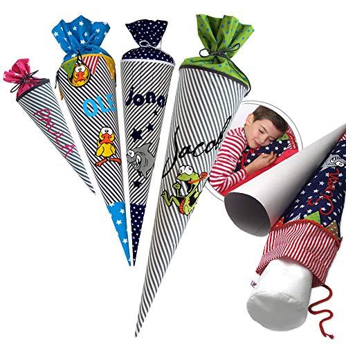 Schultüte, Zuckertüte in 70 cm oder 85 cm, grau/weiß gestreift inklusive Papprohling mit vielen Personalisierungsmöglicheiten, als Kuschelkissen weiter nutzbar