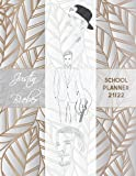 Justin Bieber School Planner 2021/2022: DATED Calendar | Monthly Journal | Organizer For Lessons | incl. Coloring Pages For One and Only Fans | Silver Leaves