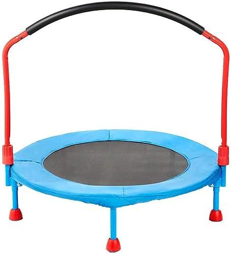 HANSHAN Gartentrampoline Trampolin, Kindertrampolin Mit Armlehnen Aerobic Blau Schwarz36 × 33 Zoll