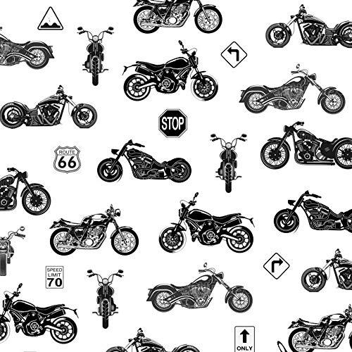 Pingianer 11,99€/m Motorrad Bike Route 66 100% Baumwolle Baumwollstoff Kinder Meterware Handwerken Nähen Stoff (Motorrad Weiß Schwarz, 100x160cm)