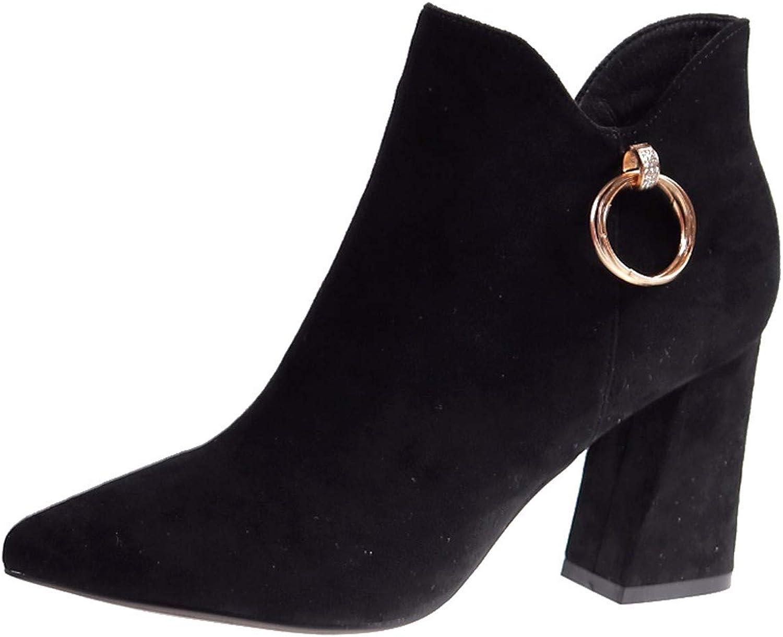 LBTSQ-Mode Damenschuhe Kurzes Rohr Martin Stiefel Mit Hohen 8 cm Kurze Stiefel Grob Hacken Spitz Wild Flanell Und Ohne Stiefel.  | eine breite Palette von Produkten