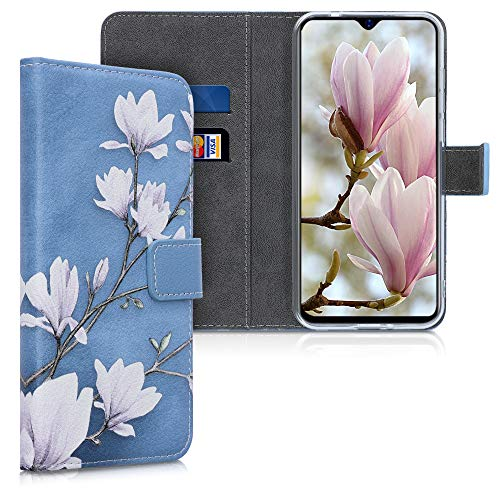 kwmobile Wallet Hülle kompatibel mit Blackview A60 - Hülle mit Ständer Kartenfächer Magnolien Taupe Weiß Blaugrau