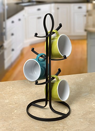 Spectrum Diversified Ashley 6 Holder, Kitchen Mug Tree Mug & Teacup Storage Rack, Coffee Bar Accessory & Kitchen Countertop Organizer, Black