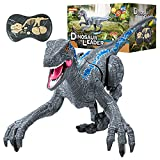 MoonBaby Remote Control Dinosaur Toys, 2.4Ghz 8 Channels Shake Head and Tail Rechargeable Electronic Pet with Lights and 3 Sounds Simulation Velociraptor Gifts for Kids (Blue)