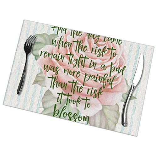 Vintage Shabby Risk to Blossom Quote - Juego de 6 manteles individuales...