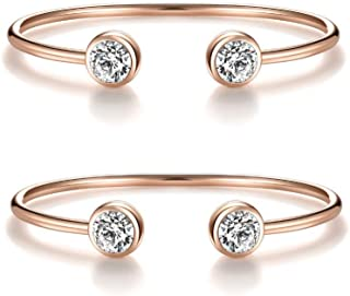 """I'S ISAACSONG """"You and Me"""" Inspirational Open Cuff Bangle Bracelets Set – Cubic Zirconia Charm Adjustable Stackable Bangles for Best Friends, Sisters, Mother and Daughter"""