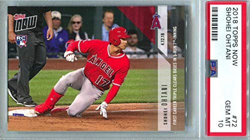 2018 Topps Now Shohei Otani (Ohtani) - 1st Career Triple clears bases in 5 run 7th Inning - Los Angeles Angels Baseball Rookie Card - Graded PSA 10 GEM MINT - RC Card #72