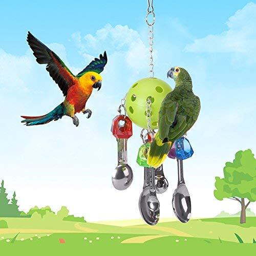 HEEPDD Vogel Kauwspeelgoed, Kleurrijke Kunststof Metalen Lepel Hanging Swing Toys Papegaai Interactief Ophangspeelgoed Kooi Decoratie voor Kleine en Medium Sized Vogels