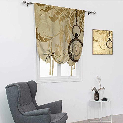 GugeABC Pantalla de reloj para ventana, un diseño de fondo grungy vintage con relojes de bolsillo en cadena romántica arte retro con amarre para ventana, marrón, 76,2 x 162,6 cm