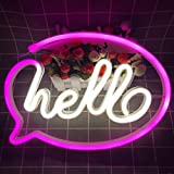 Pink Neon Sign Led Light Hello Letters Art for Bedroom Wall Window Shop Door Decor