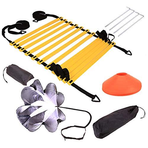 Dogggy Speed Agility, set di allenamento con 1 resistenza paracadute, 1 scala di agilità, 4 paletti in acciaio, 4 coni a disco, attrezzatura per calcetto, boxe, SAVKX53061511ACBKN98, 1