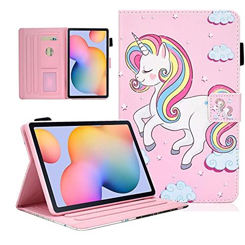 KEROM Custodia per Samsung Galaxy Tab S6 Lite 10.4 pollici 2020 (SM-P610/P615), Galaxy Tab S6 Lite, in pelle PU con supporto, Smart Cover per Samsung Tab S6 Lite, motivo unicorno