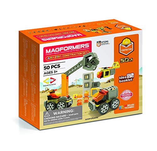 Magformers Amazing Construction 50Piece, Wheels, Orange Colors, Educational Magnetic Geometric Shapes Tiles Building STEM Toy Set Ages 3+