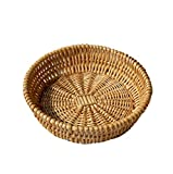 Natural Wicker Fruit Basket Bread Basket Tray Storage Basket Willow Woven Fruit Basket Bread Serving Basket, Round Shallow Basket(1Pack-M)