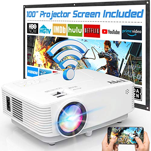 TMY WiFi Projector with 100″ Screen, 180 ANSI Brightness [Over 7000 Lumens], 1080P Full HD Enhanced Portable Projector Compatible with TV Stick Smartphone Tablet HDMI USB for Outdoor Movies.