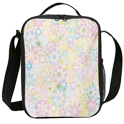 Lunch Bags with Zipper Insulated Lunchbox for School Girls Pastel Blossoming Flowers Bedding Plants