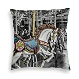 Joaked 22'' x22 Merry Go Round Carousel Printed Double Sided Square Pillow Case Cushion Covers Multi-Size, Perfect For Home Car Office Couch Livingroom Sofa Bed